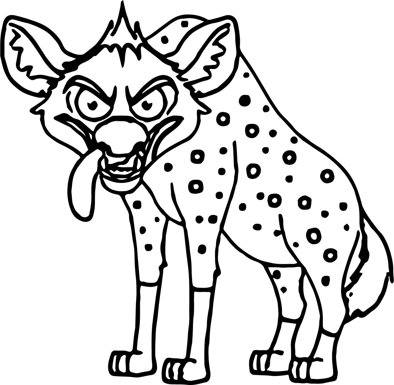 angry looking hyena cartoon coloring page wecoloringpage