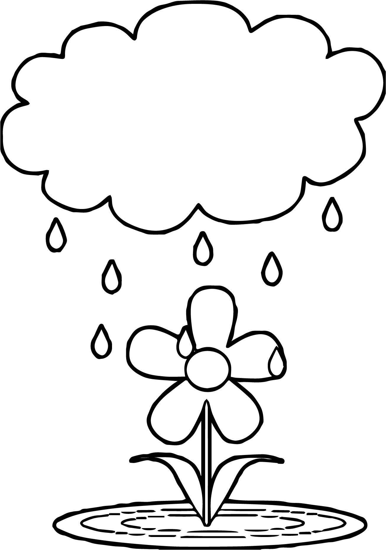 April Flower Shower Coloring Page