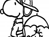 April Shower Snoopy Coloring Page