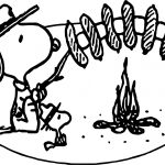 Art Snoopy Camping Coloring Page