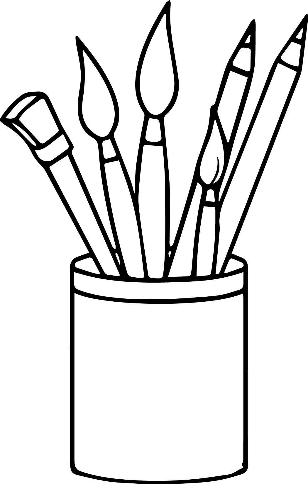Art Supplies Pencils Paint Brushes Coloring Page