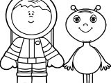 Astronaut And Alien Coloring Page