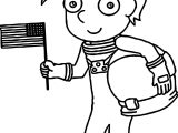 Astronaut Kids Flag Coloring Page