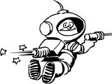Astronaut Space Rocket Coloring Page