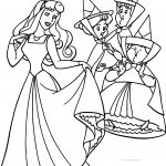 Aurora Flora Fauna and Merryweather Happy Coloring Pages