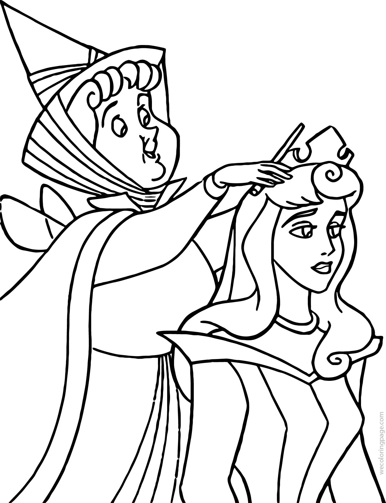 Aurora Flora Fauna and Merryweather Magic Coloring Pages