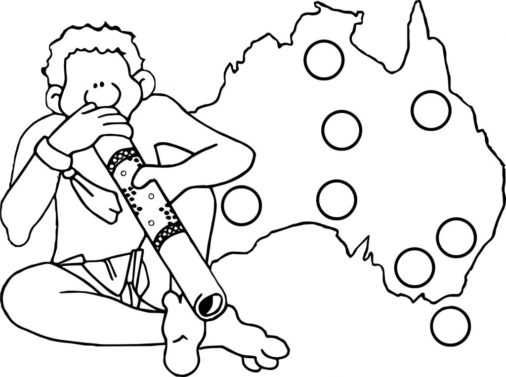 Australia map and man aboriginal coloring page for Australia map coloring page