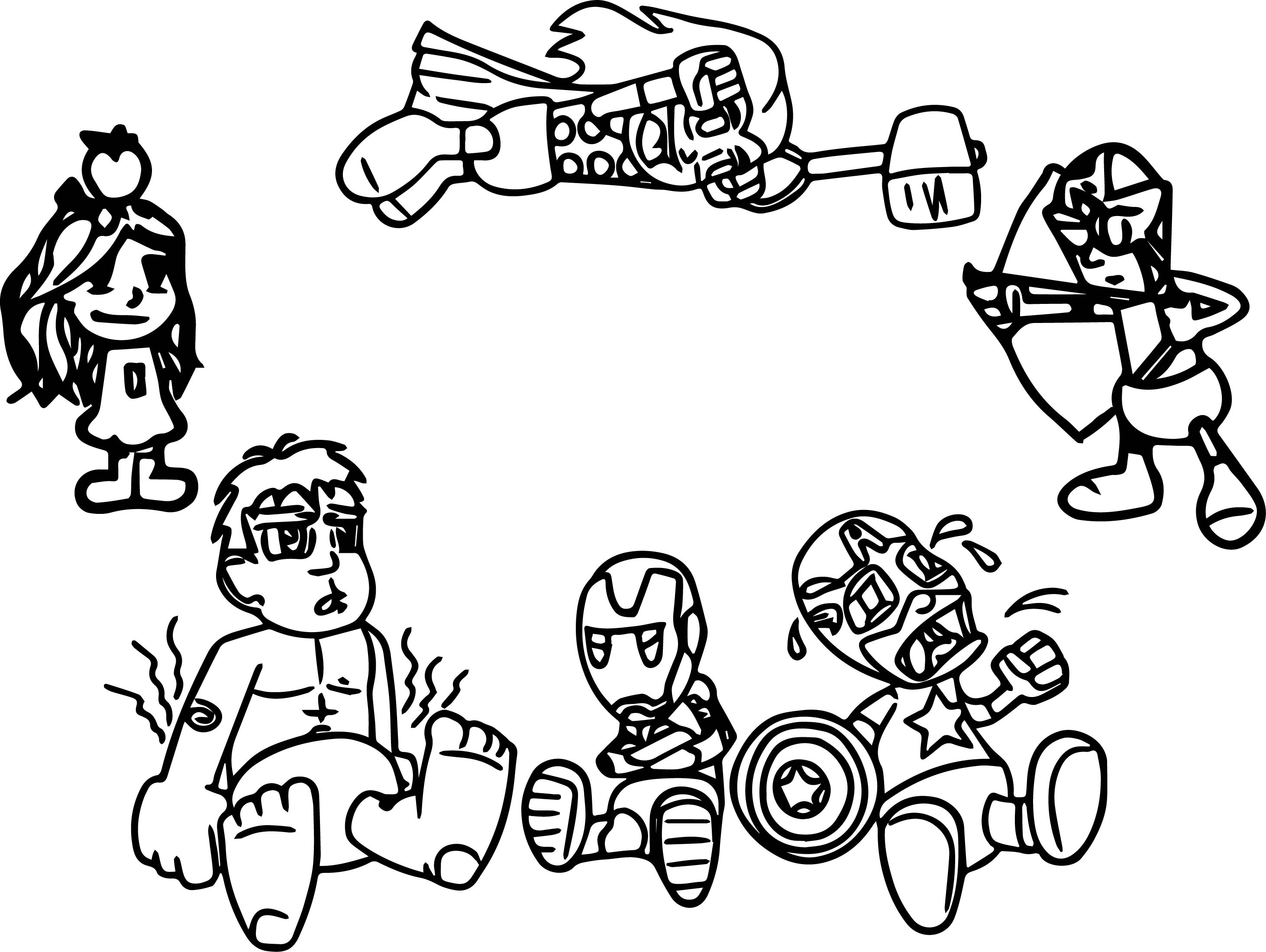 Avenger Babies Cartoon Coloring Page