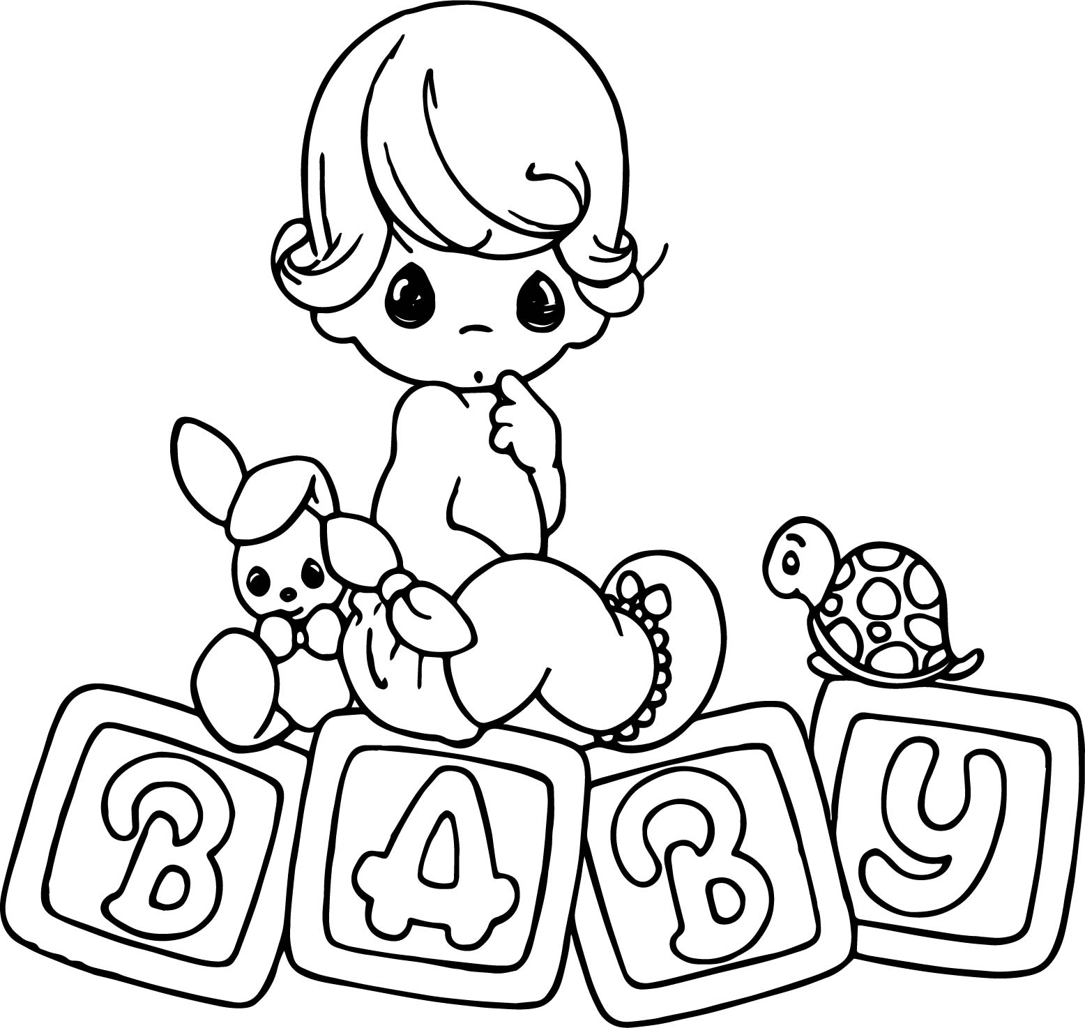 Baby Animals And Kid Coloring Page