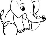 Baby Animals Elephant Cartoon Coloring Page