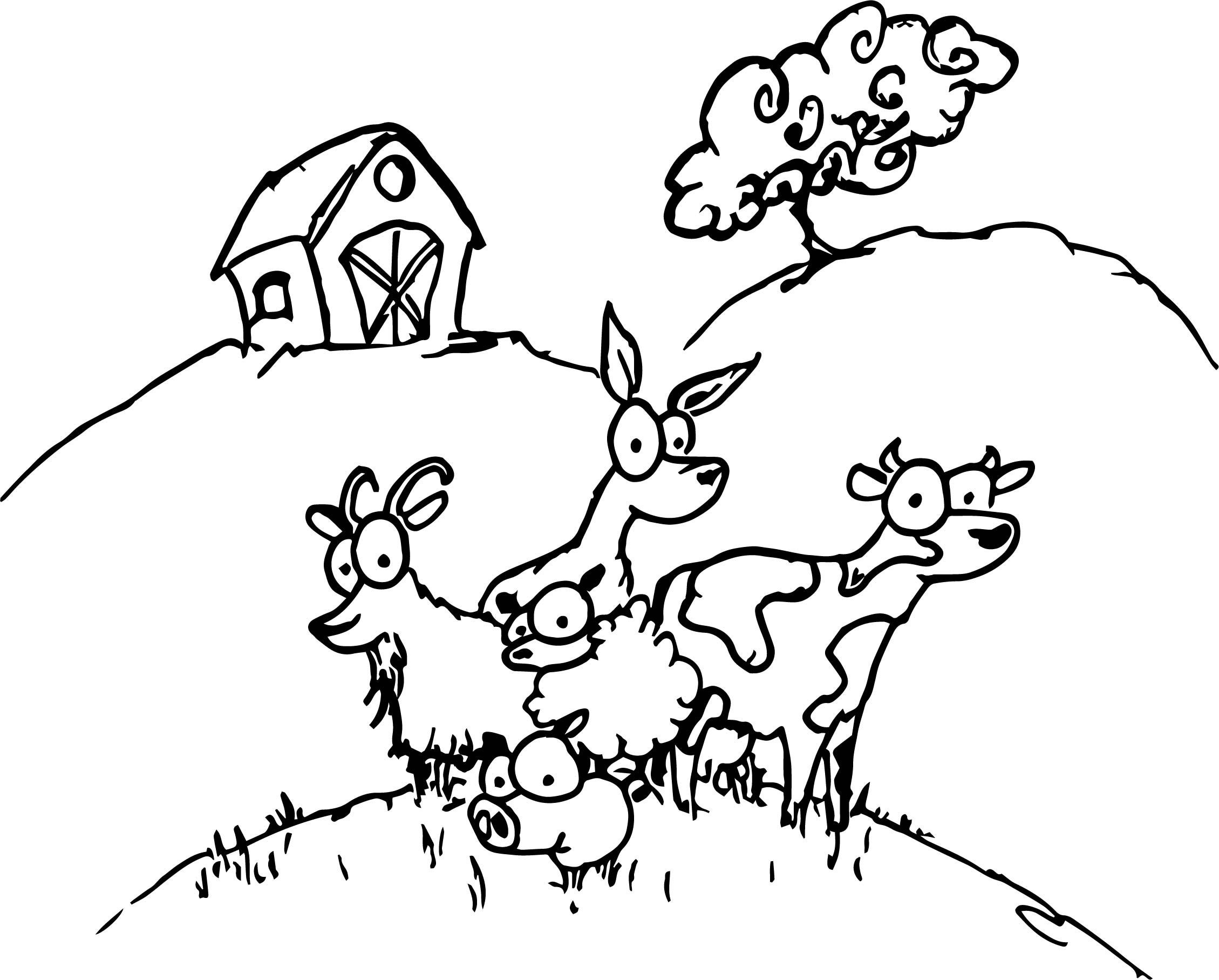 Baby farm animal coloring page for Farm animal coloring pages
