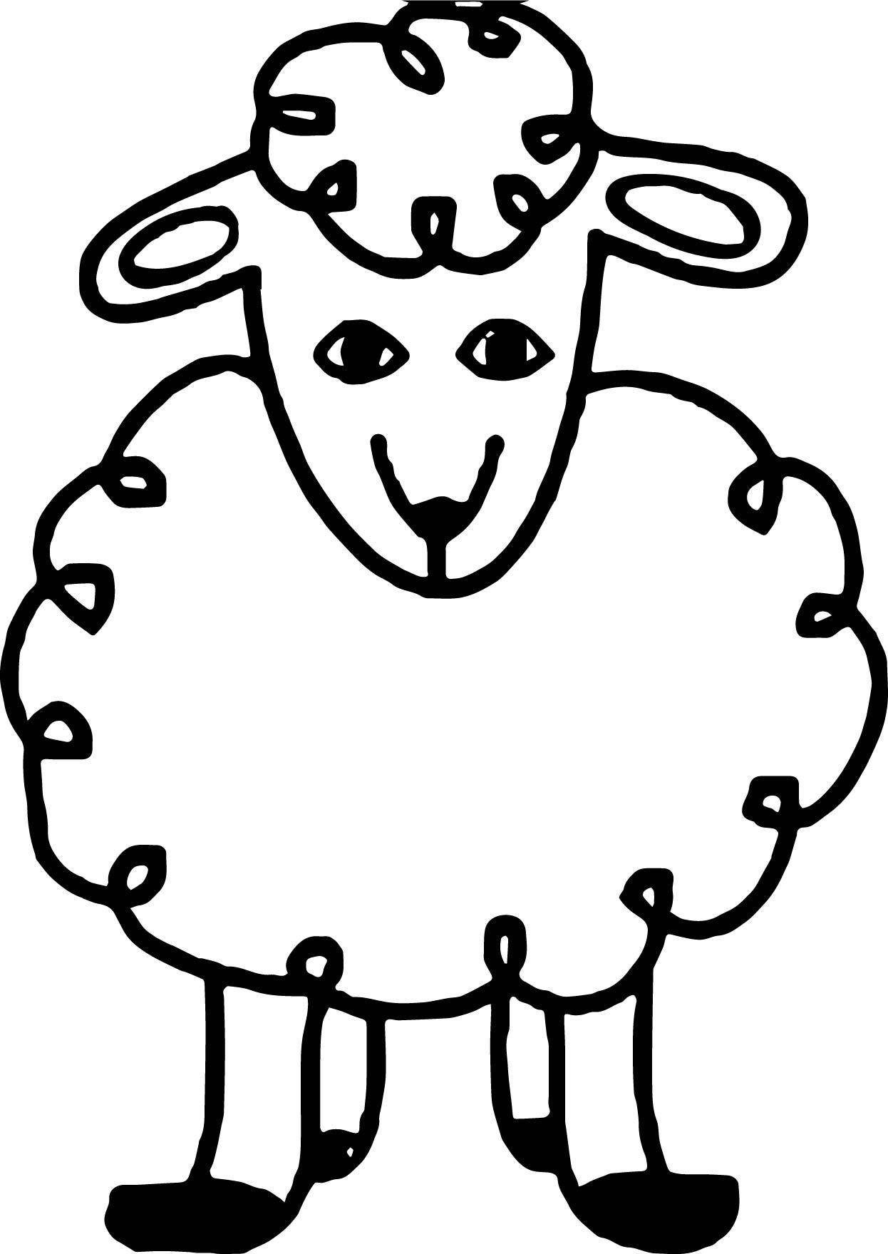 Baby Farm Animal Sheep Coloring Page