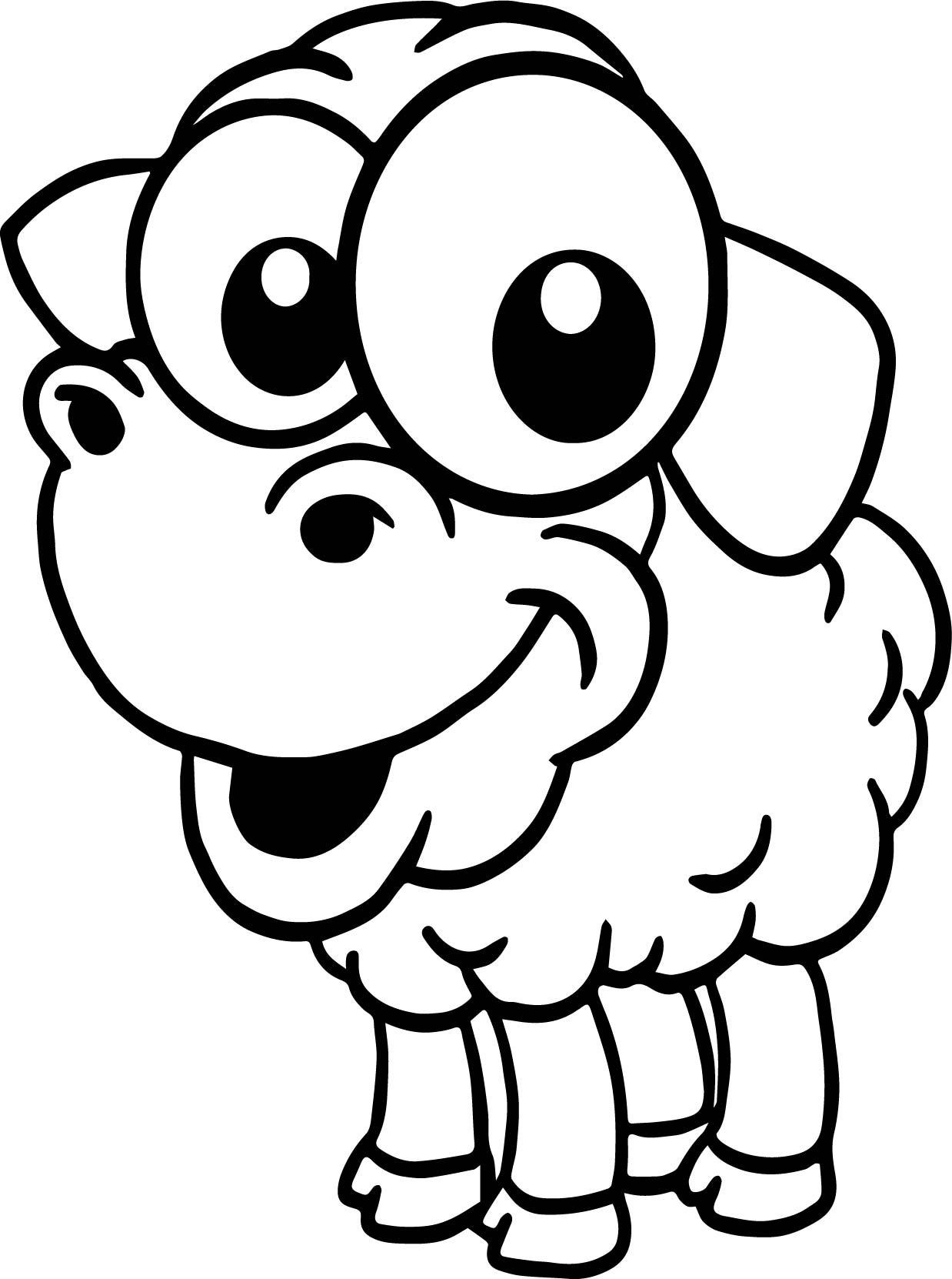 Baby Farm Sheep Animal Cartoon Coloring Page | Wecoloringpage