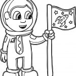 Beautiful Kid Astronaut Coloring Page