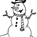 Black Hat Winter Snowman Coloring Page