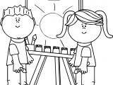 Boy And Girl Art Paint Coloring Page