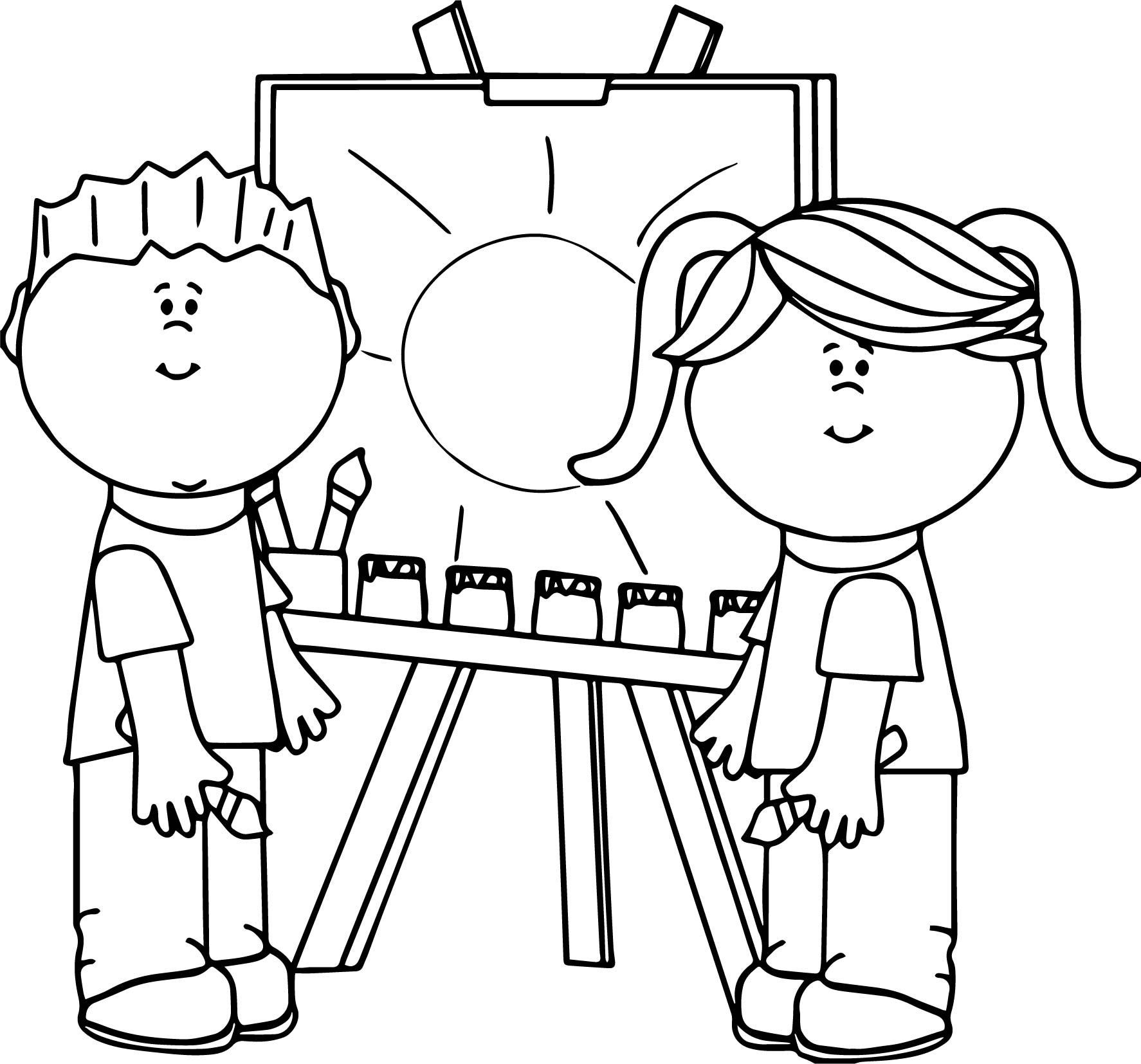 Boy and girl art paint coloring page for Coloring pages girl and boy