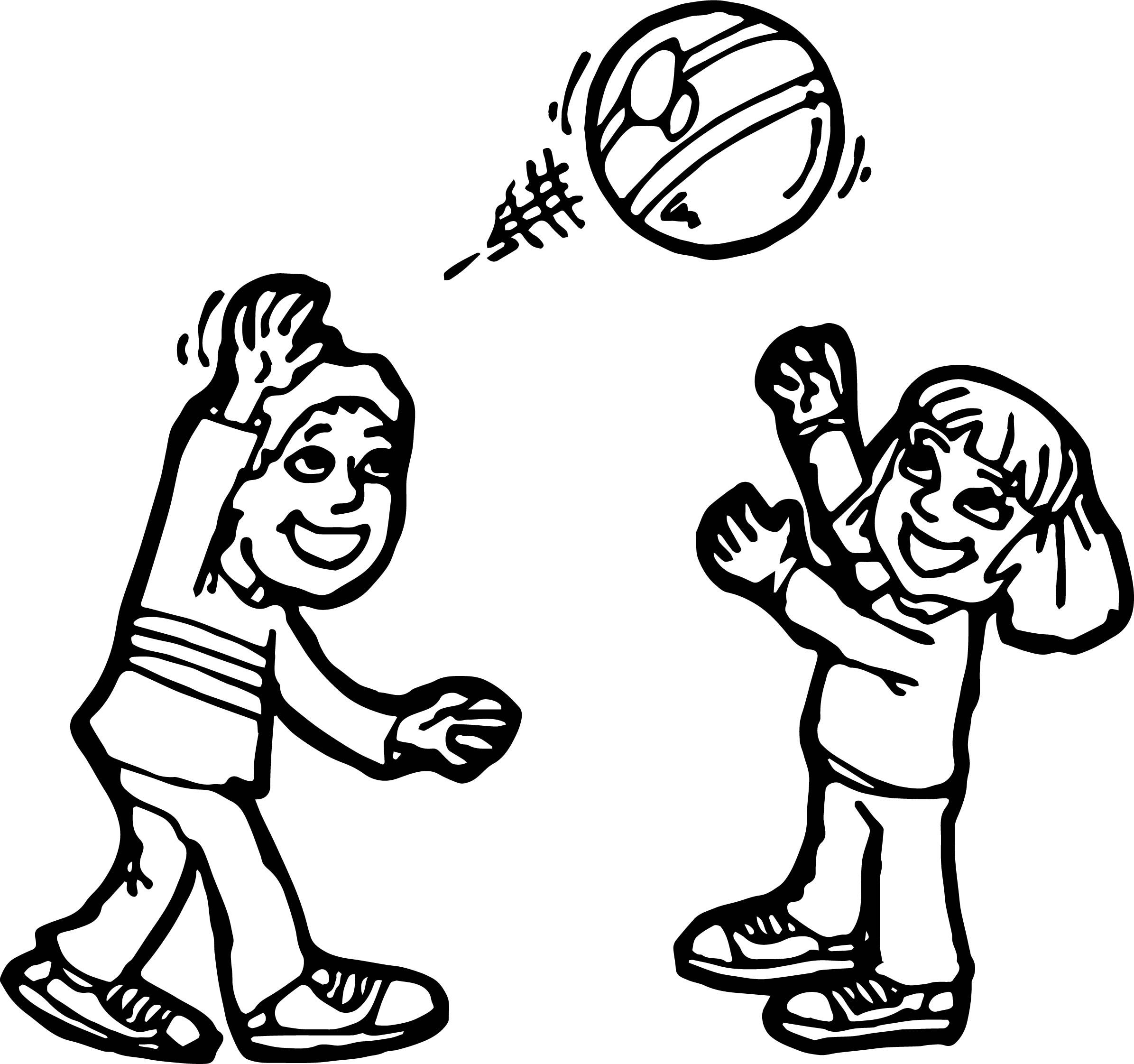 Boy And Girl Ball Activity Coloring Page Wecoloringpage