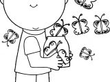 Boy Releasing Spring Butterflies Coloring Page