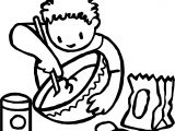 Boy Stirring Coloring Page