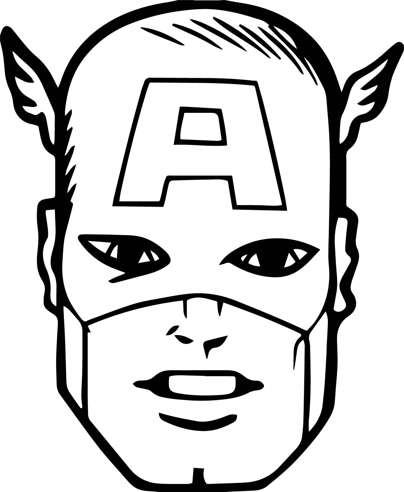 Captain america face coloring for Coloring pages captain america