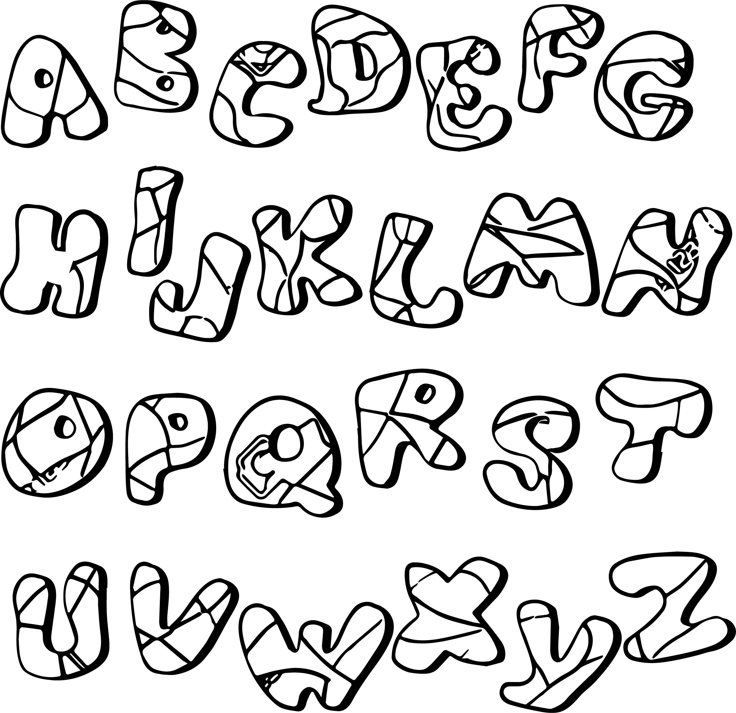Cartoon Alphabet From A To Z Stock Coloring Page