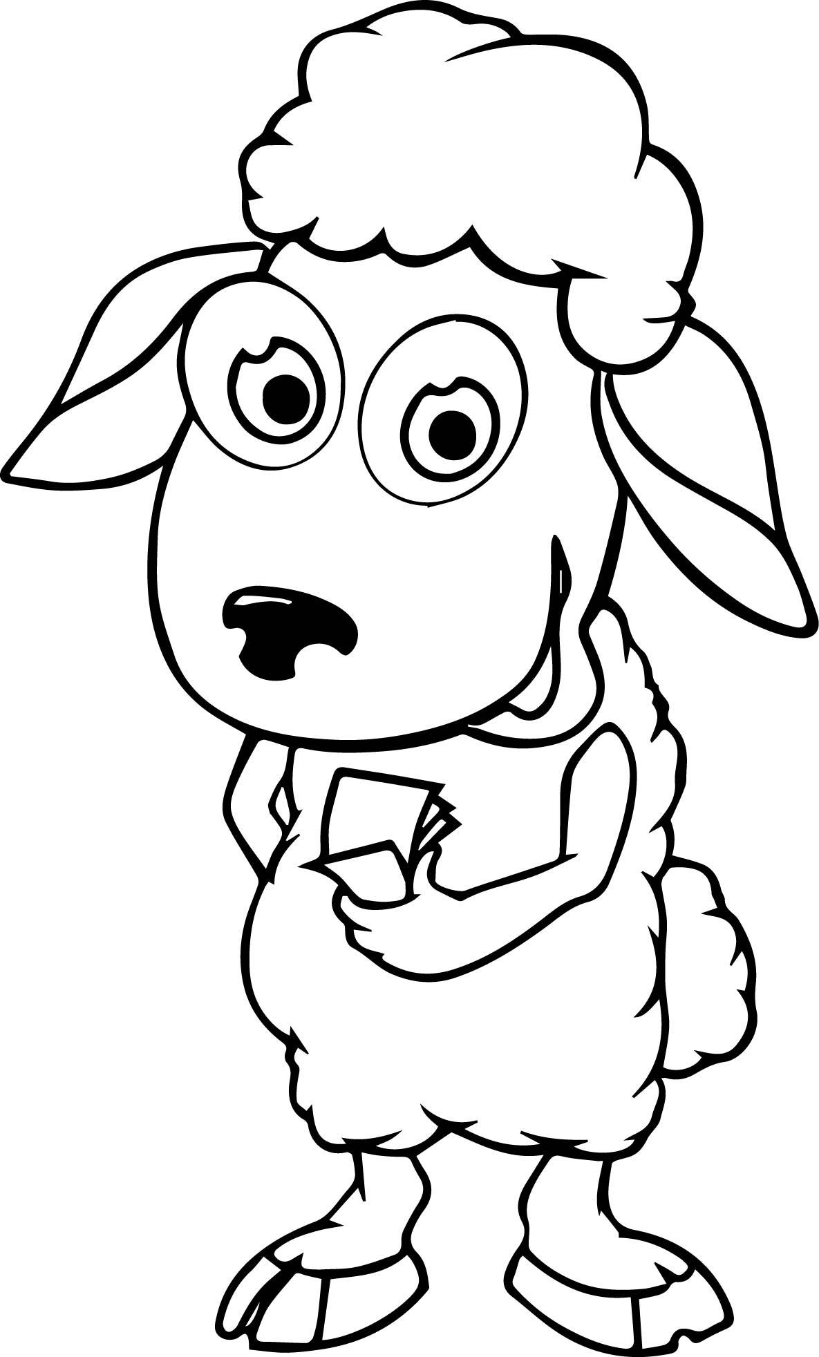Cartoon Sheep Coloring Page