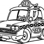 Cartoon Taxi Driver Car Coloring Page
