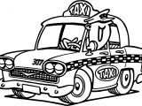 Cartoon Taxi Driver Car Coloring Page