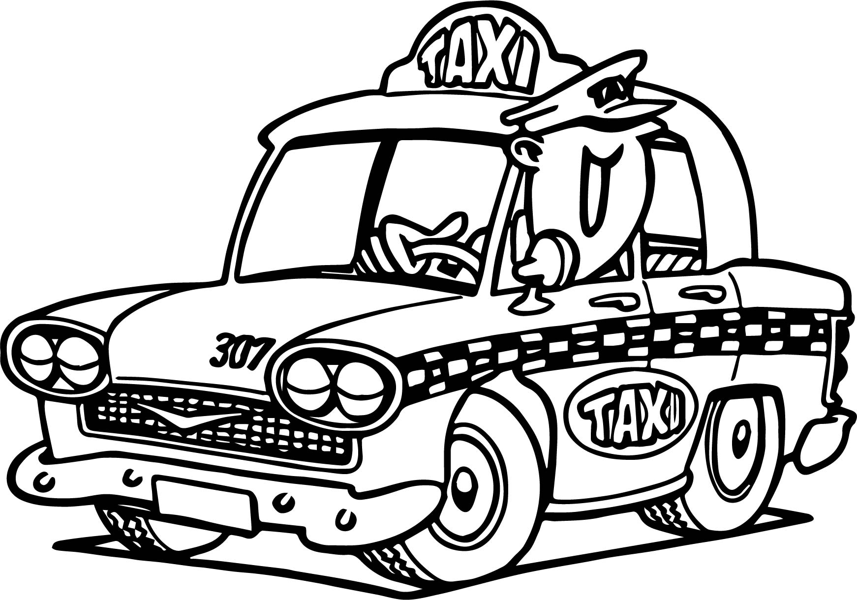 Cartoon taxi driver car coloring page for Taxi coloring page