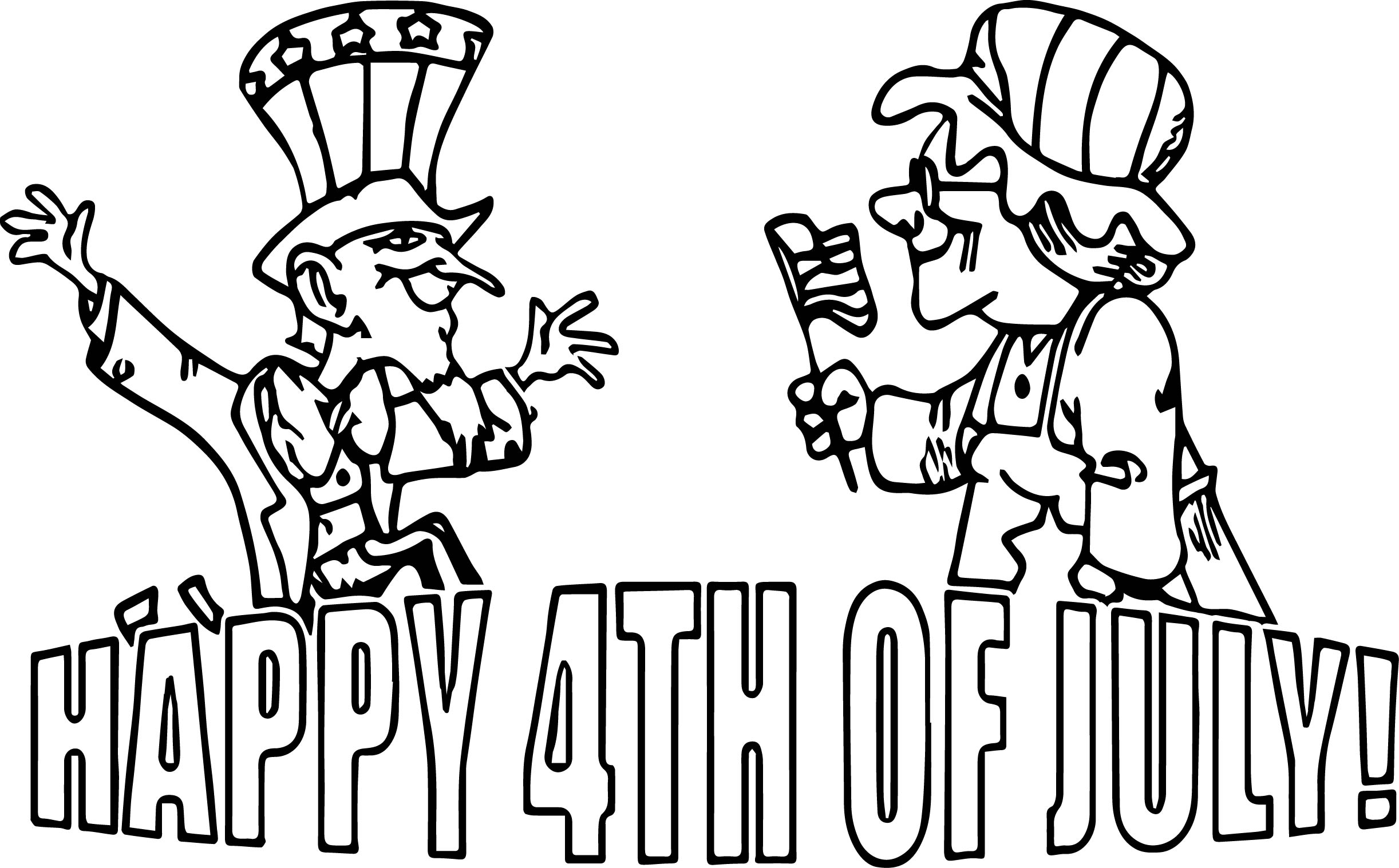 Celebrating The 4th July Old Couple Coloring Page