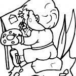 Child Painting Activity Coloring Page
