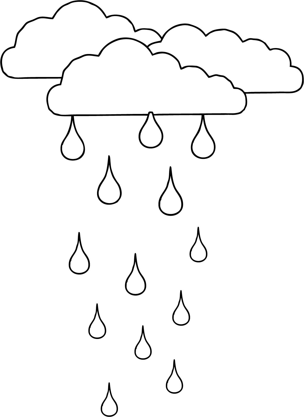 Clouds Rain Coloring Page