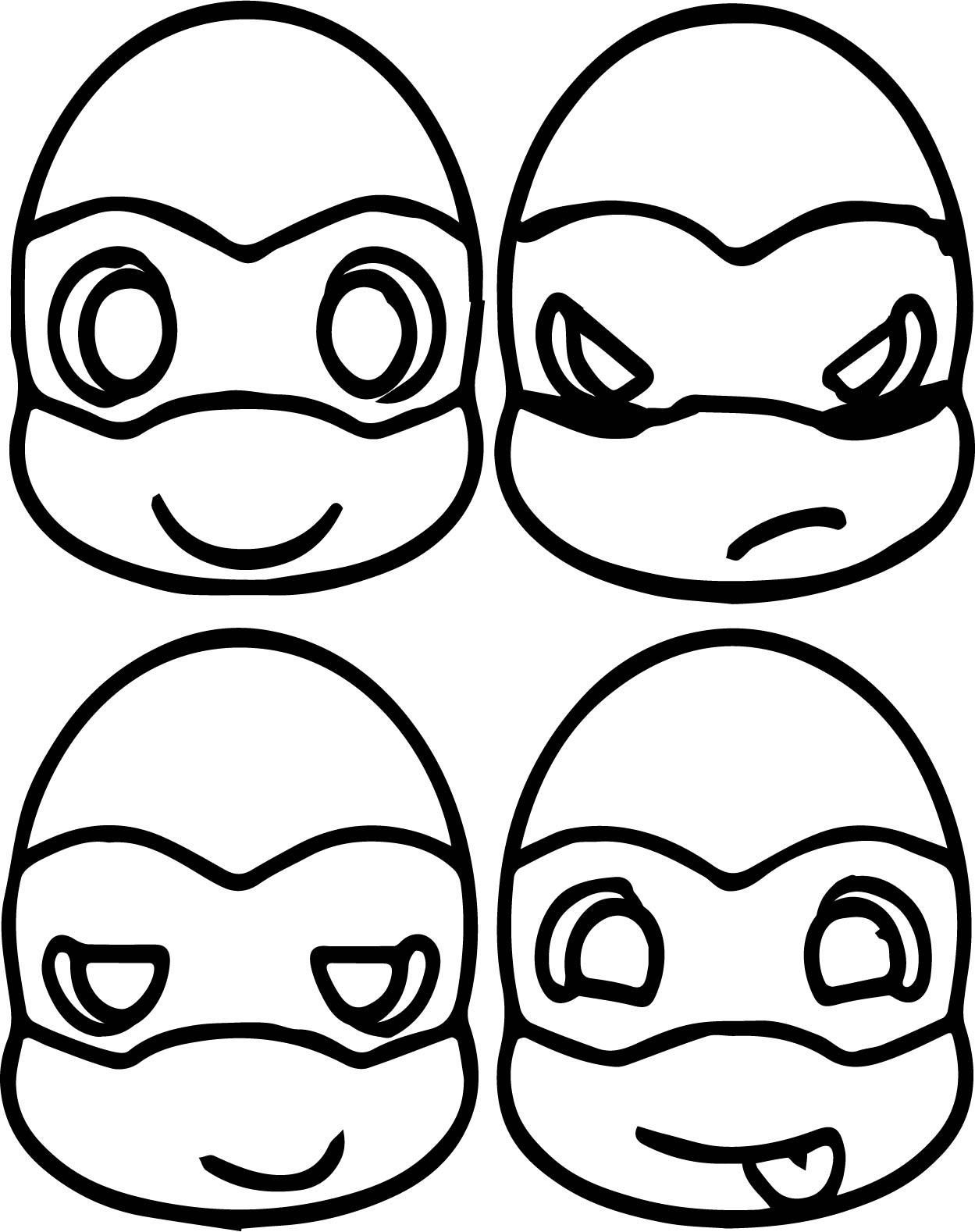 Cute ninja turtle head coloring page for Coloring pages turtles ninja