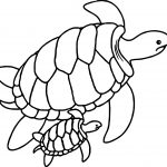 Cute Sea Turtle Mother And Baby Sea Turtles Swimming Together Underwater Coloring Page