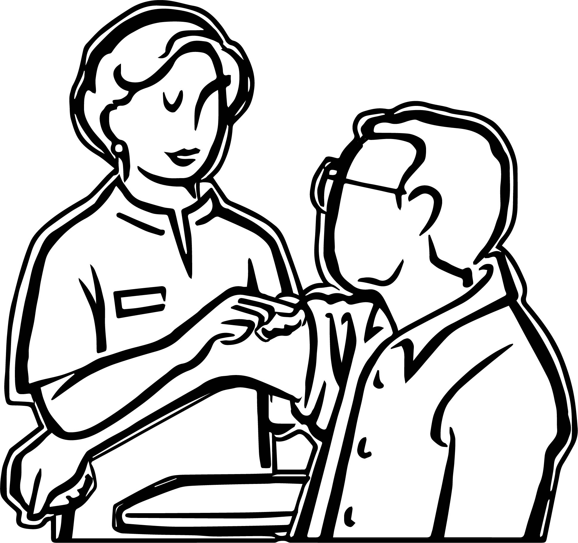 Doctor Adult Injection Coloring Page