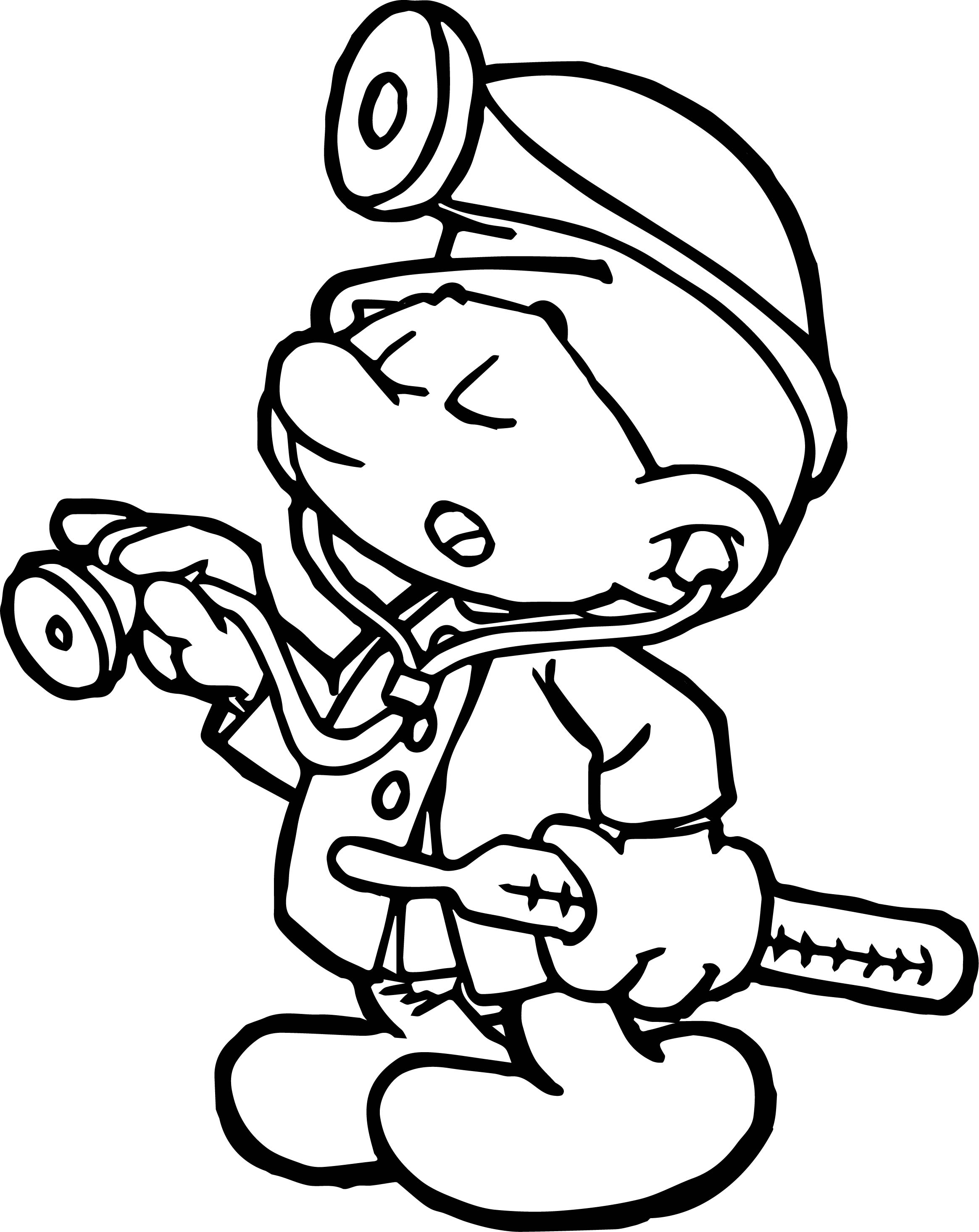 Doctor Smurf Coloring Page