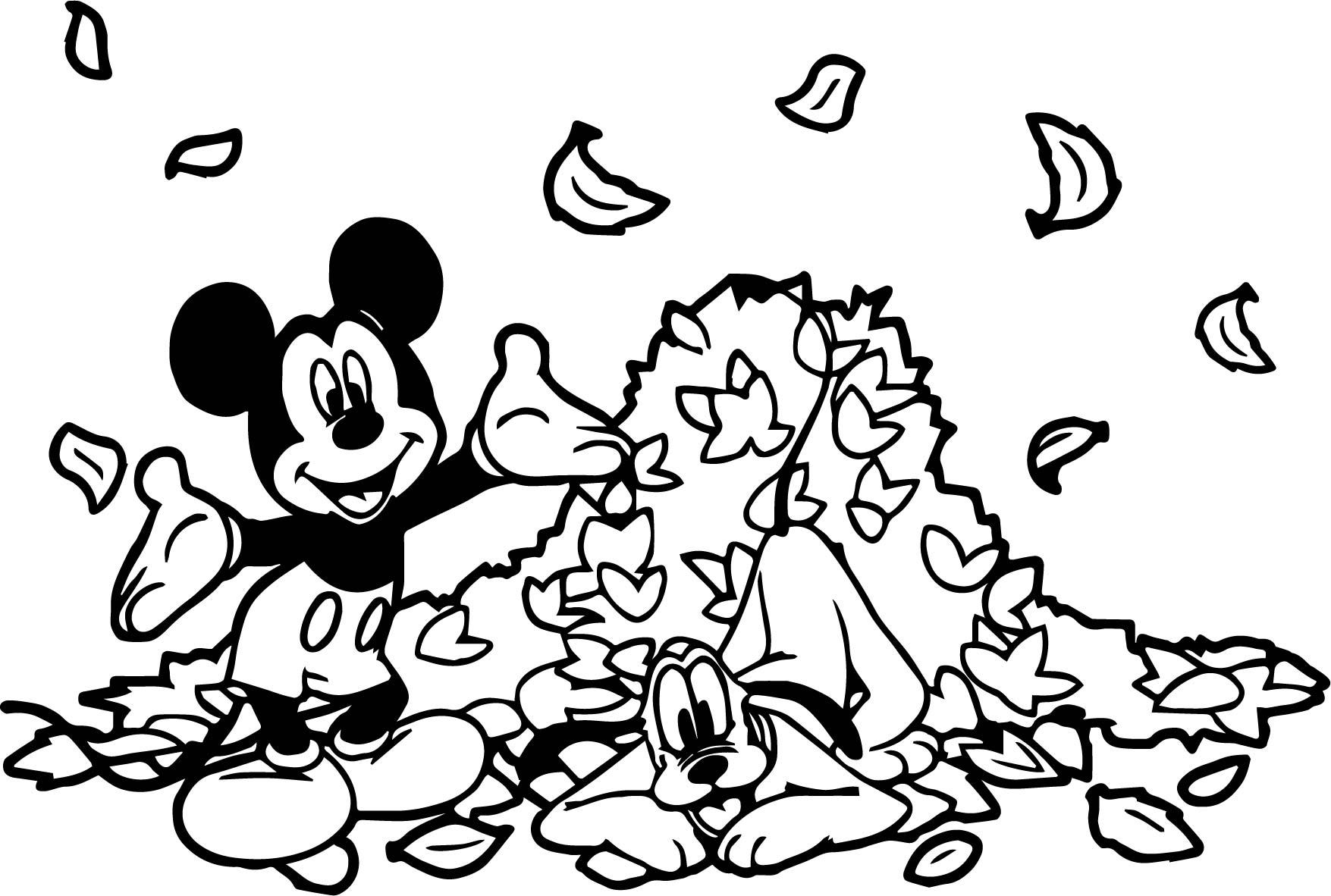 Fall Mickey Coloring Page