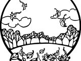 Fall Scene Autumn Coloring Page