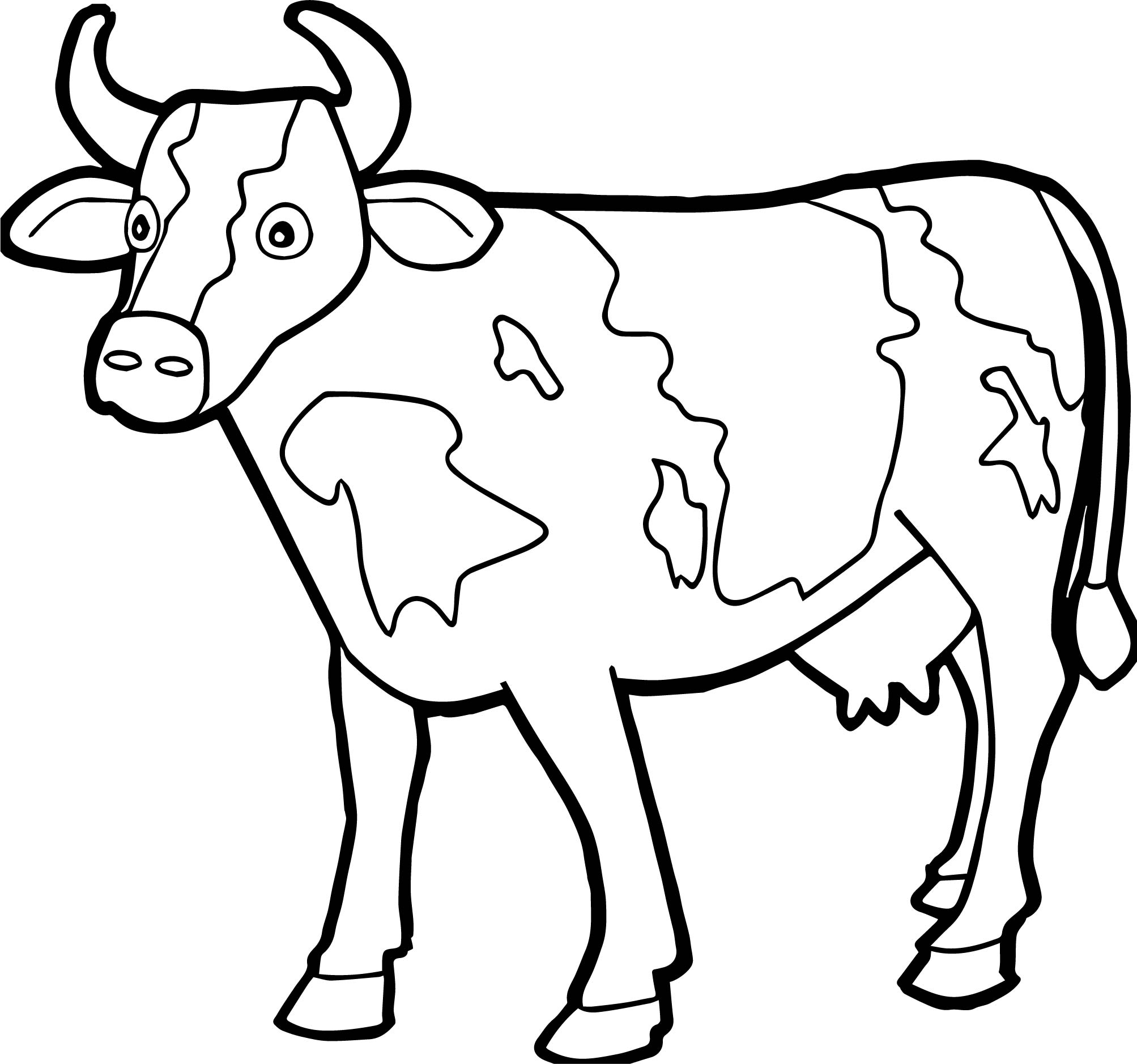 Farm Animal Staying Cow Coloring Page Wecoloringpage