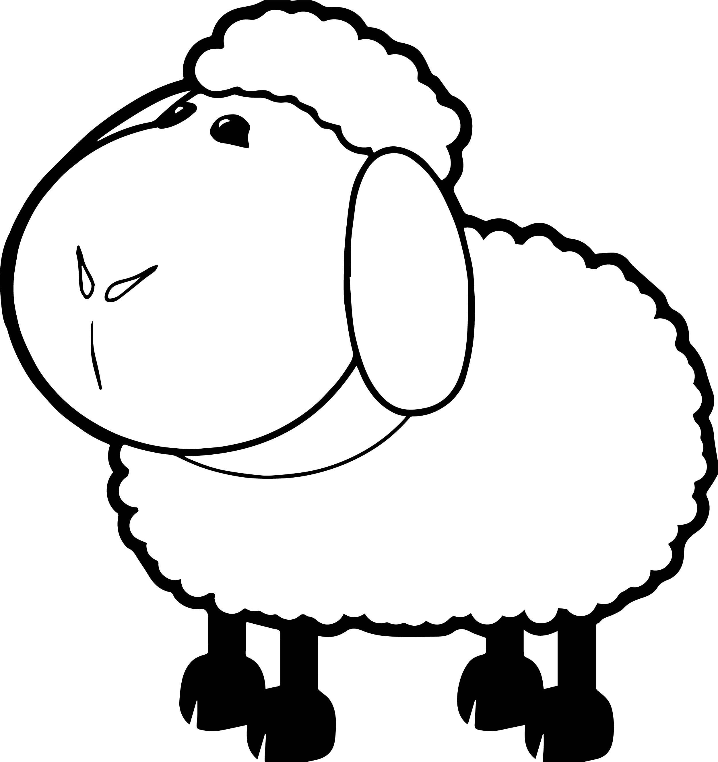 Farm Sheep Animal Coloring Page