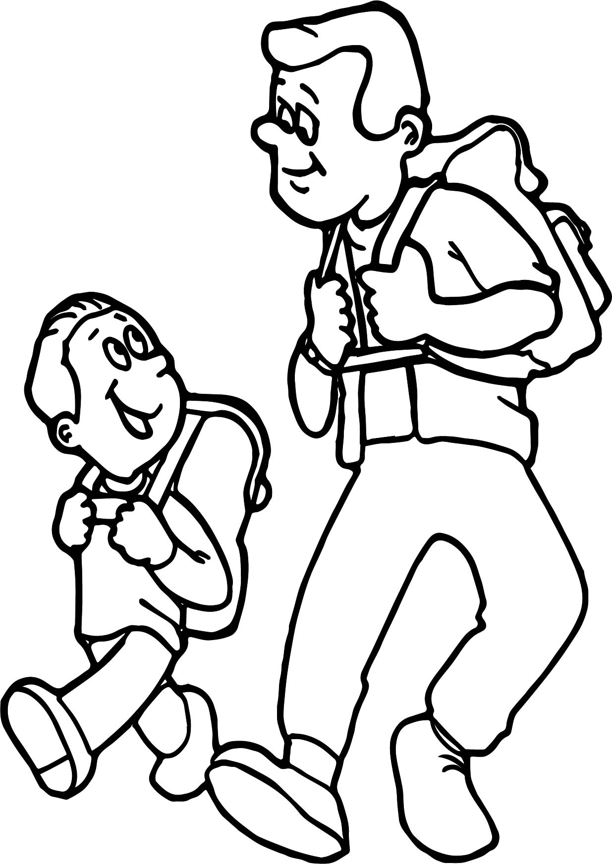 Father Son Camping Coloring Page
