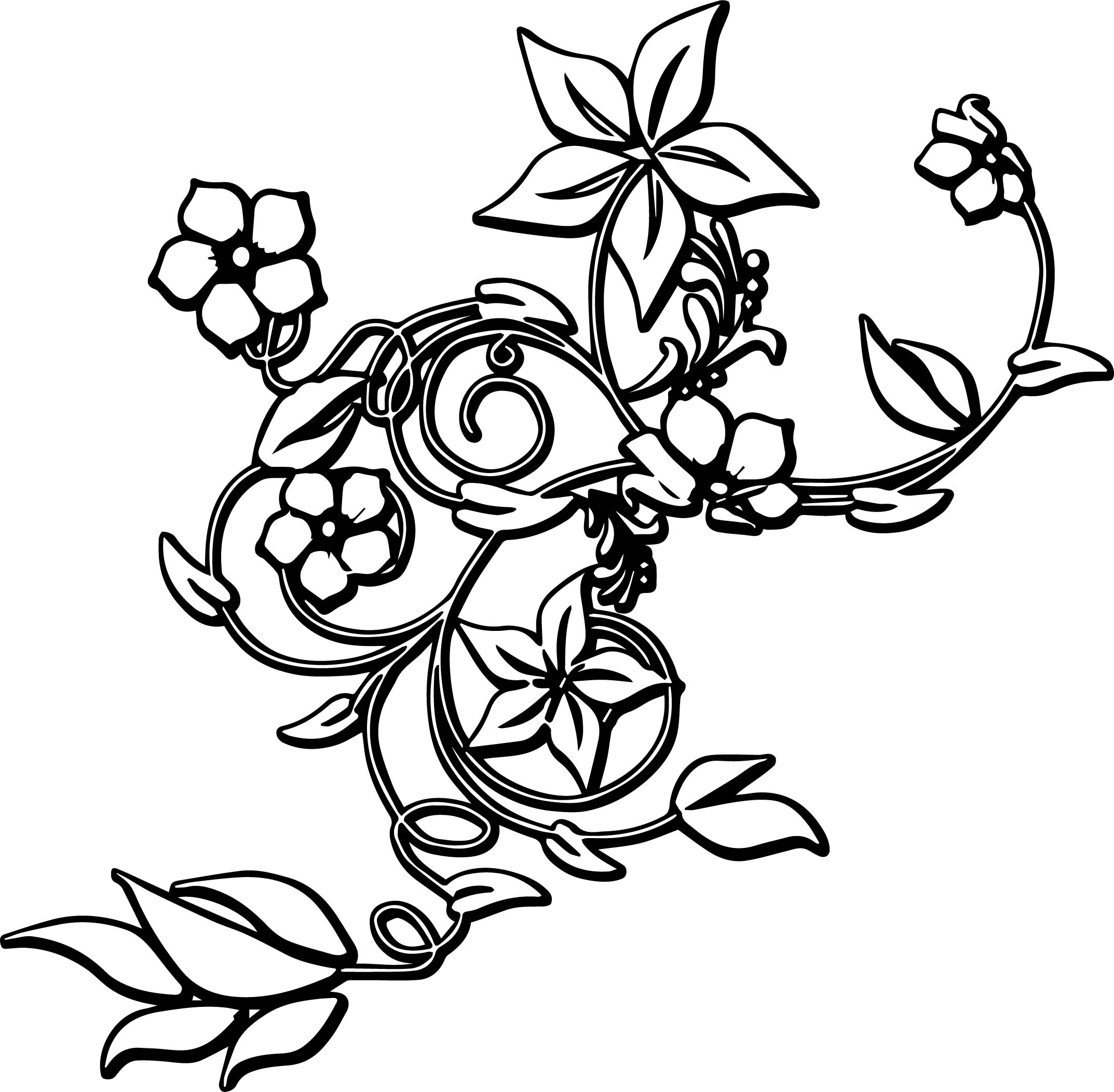 flower border abstract coloring page wecoloringpage