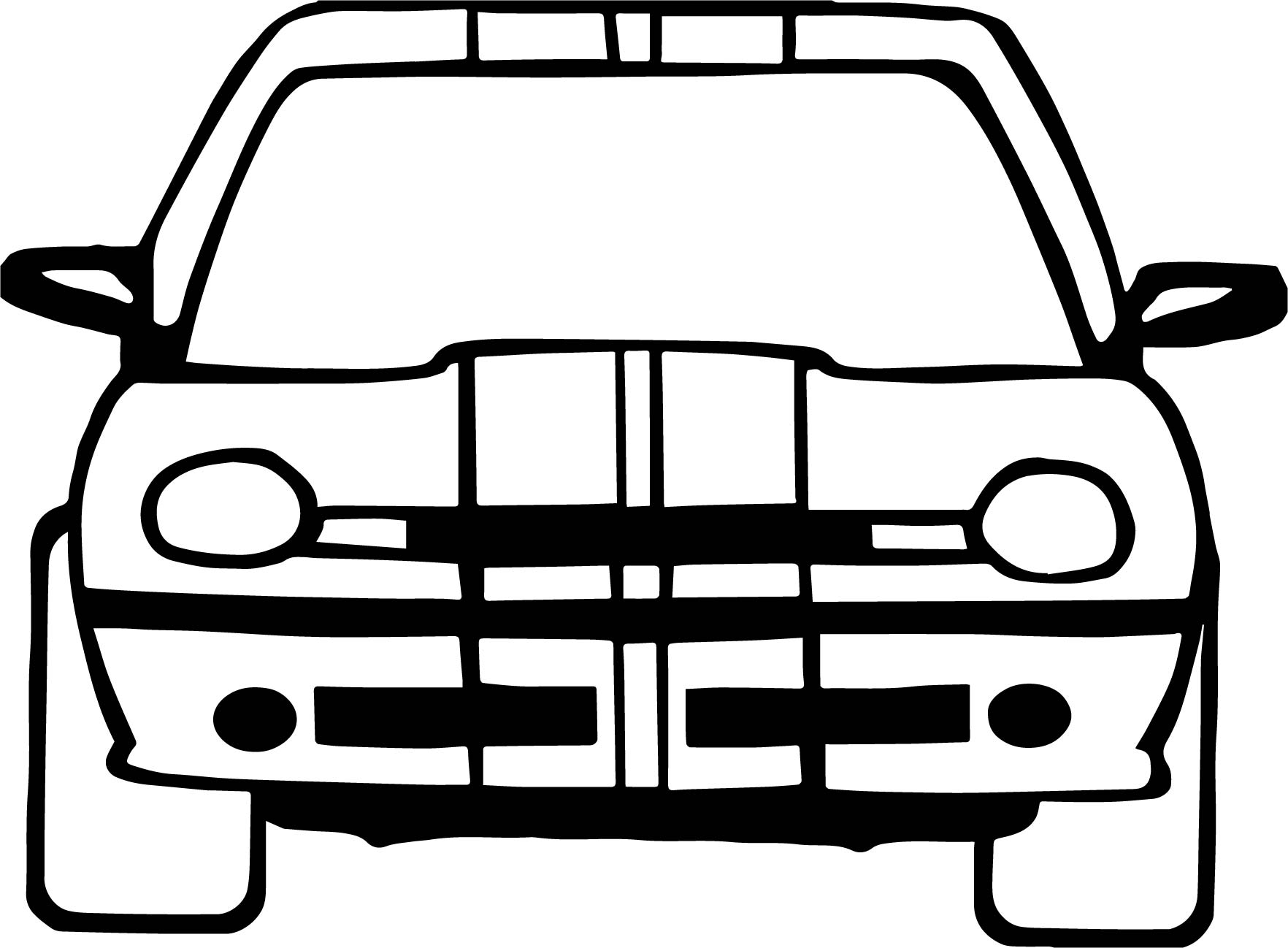 Front Taxi Driver Car Coloring Page
