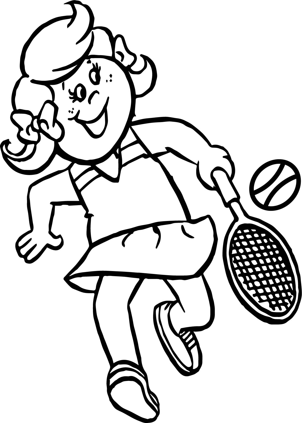 Girl Kid Playing Tennis Coloring Page