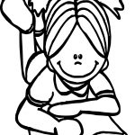 Girl Read All Book Images Coloring Page