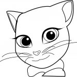Girl Talking Cat Coloring Page