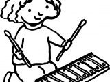 Girl With Xylophone Activity Coloring Page