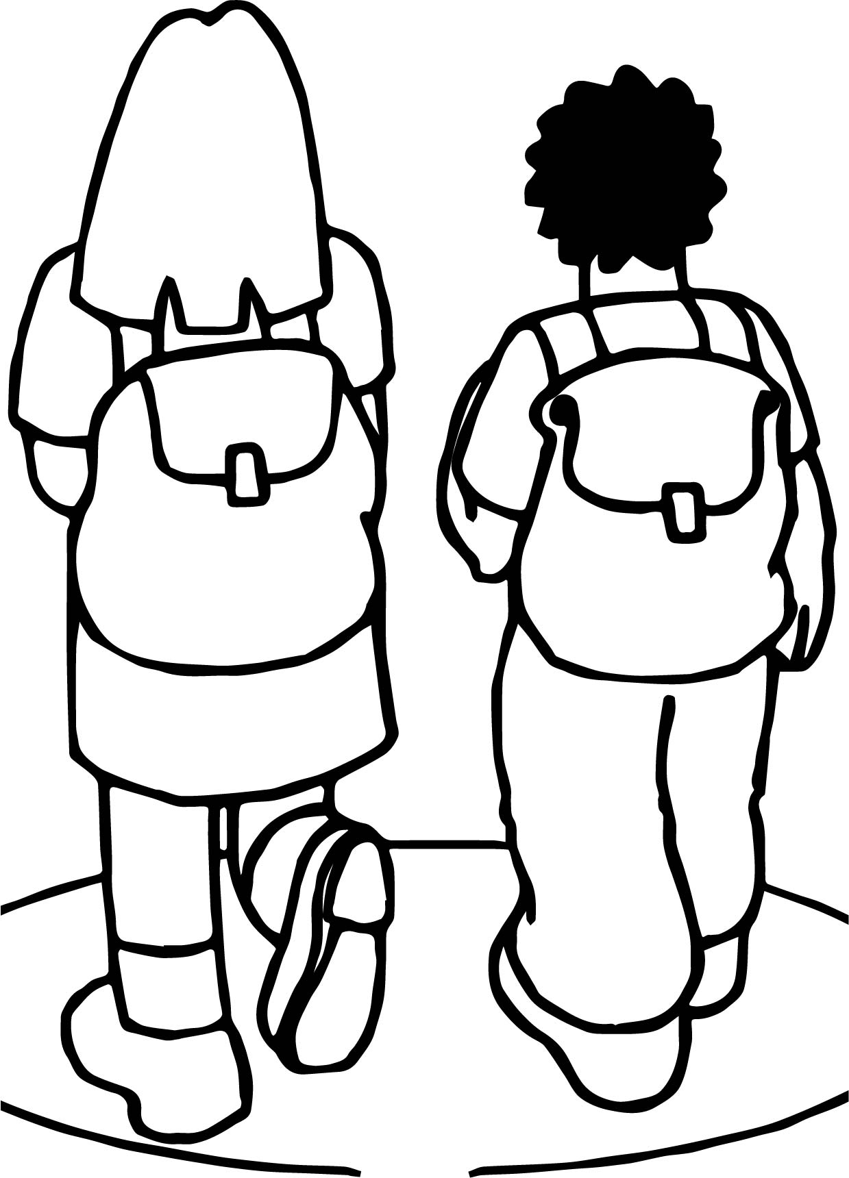 Going To School With School Bag Coloring Page