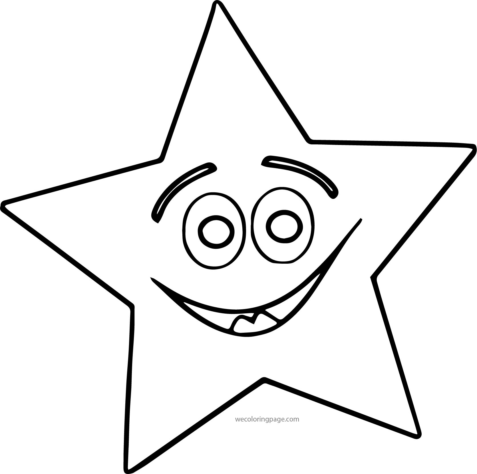 Happy Star Coloring Page Wecoloringpage